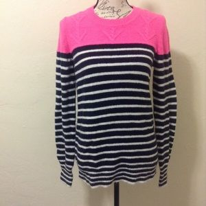 Gap Pink and Stripes Color Block Sweater
